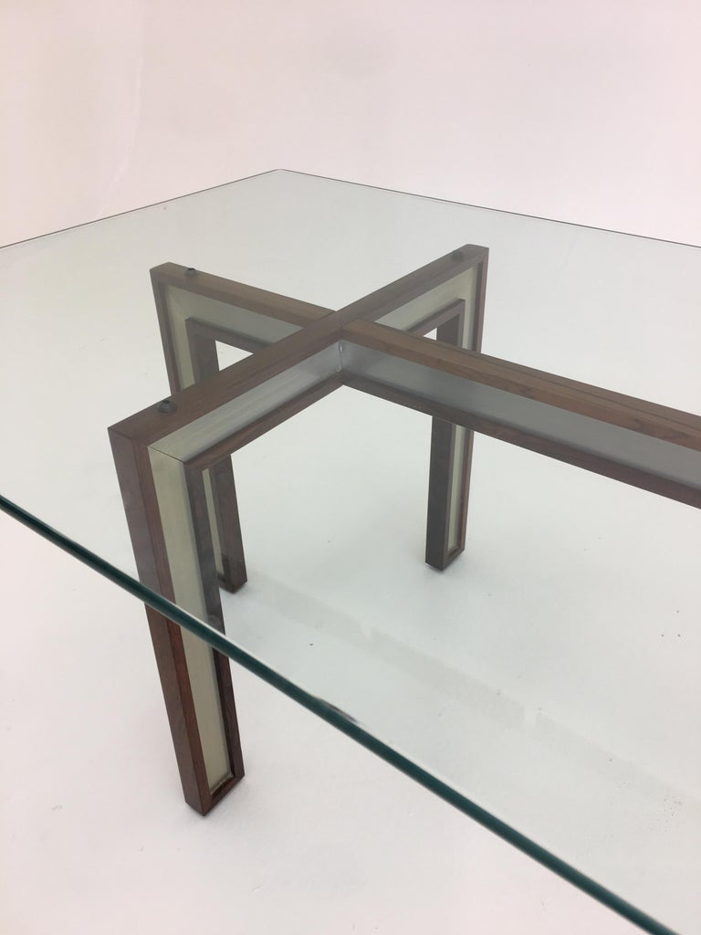 Danish Glass Coffee Table by Henning Korch with Rosewood and Aluminum Frame For Sale 1