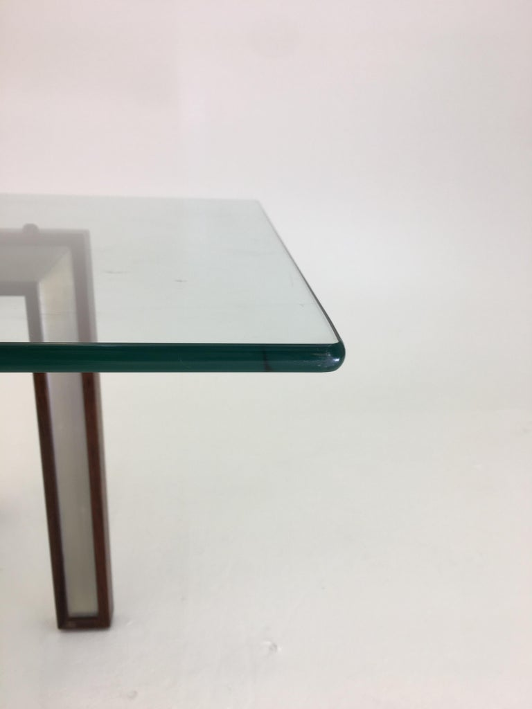Danish Glass Coffee Table by Henning Korch with Rosewood and Aluminum Frame For Sale 2