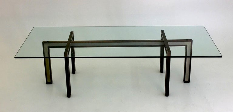 Danish Glass Coffee Table by Henning Korch with Rosewood and Aluminum Frame For Sale 4
