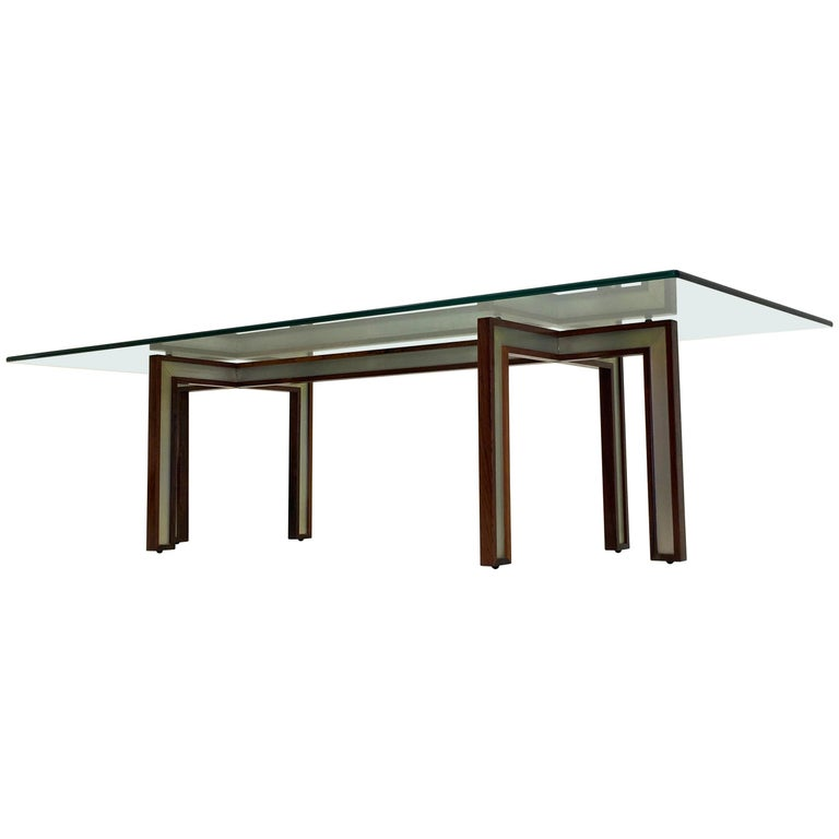 Danish Glass Coffee Table by Henning Korch with Rosewood and Aluminum Frame For Sale
