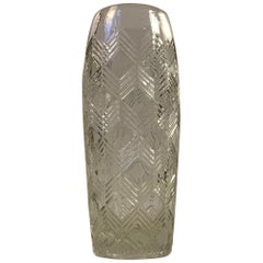 Danish Glass Vase with Arrows, 1930s