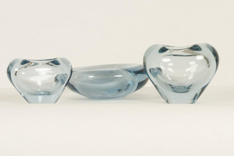 Danish Glass Vases and Bowl by Per Lütken, 1950s In Good Condition For Sale In Nibe, Nordjylland