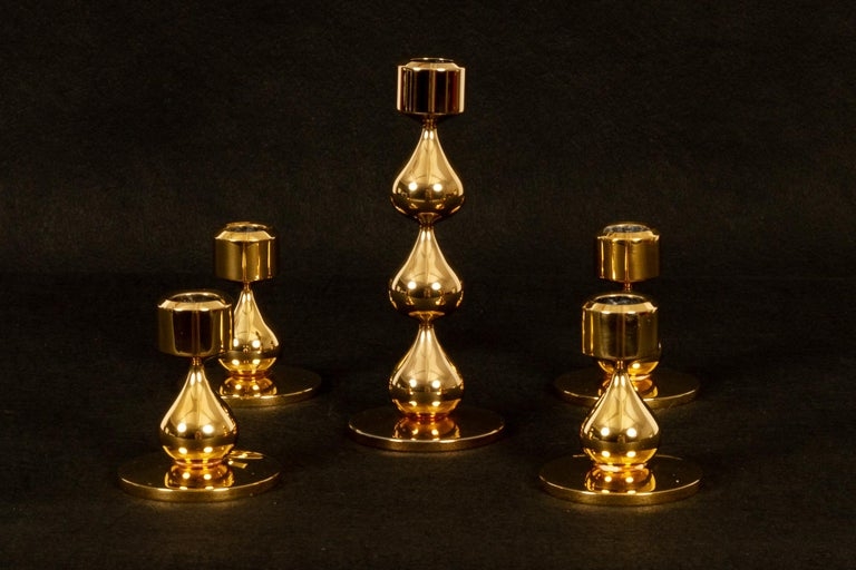 Mid-Century Modern Danish Gold-Plated Candleholders by Hugo Asmussen 1970s, Set of 5 For Sale