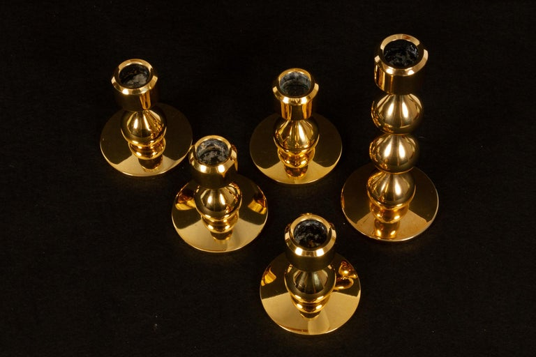 Gold Plate Danish Gold-Plated Candleholders by Hugo Asmussen 1970s, Set of 5 For Sale