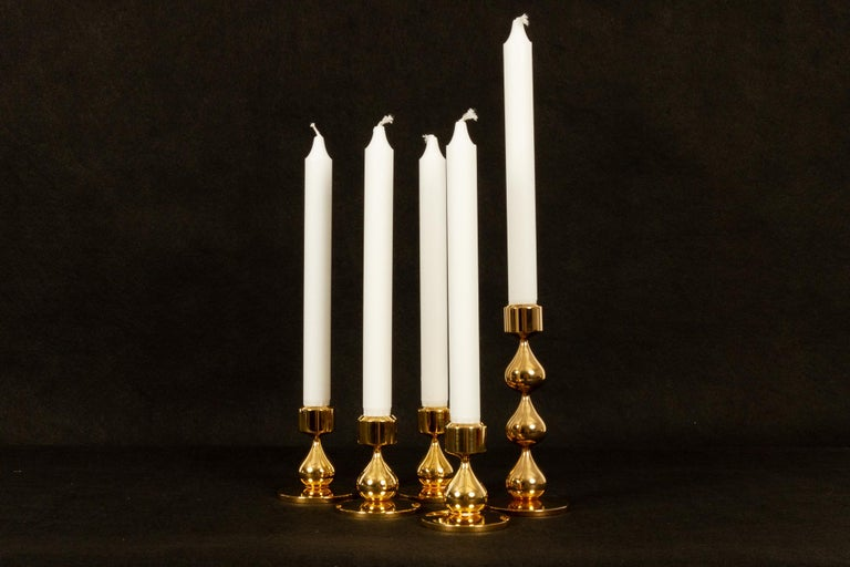 Danish Gold-Plated Candleholders by Hugo Asmussen 1970s, Set of 5 For Sale 1