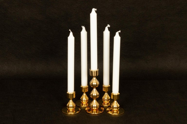 Danish Gold-Plated Candleholders by Hugo Asmussen 1970s, Set of 5 For Sale 2