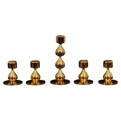 Danish Gold-Plated Candleholders by Hugo Asmussen 1970s, Set of 5