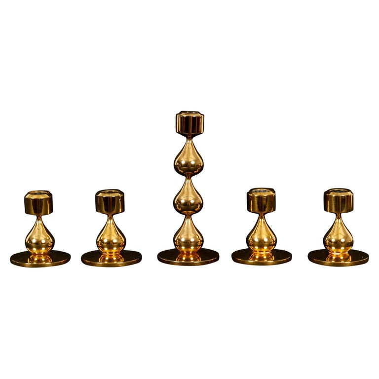 Danish Gold-Plated Candleholders by Hugo Asmussen 1970s, Set of 5 For Sale
