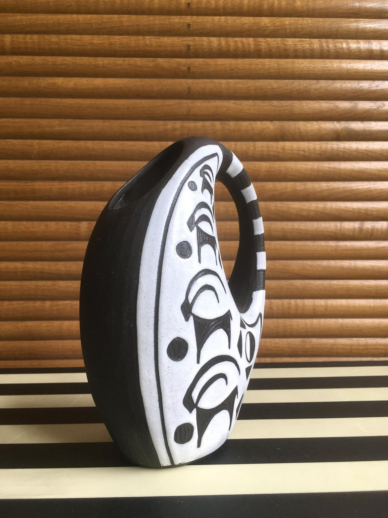 Hand-Carved Danish Graphic Black/White Ceramic Vase by Marianne Starck, 1950s For Sale