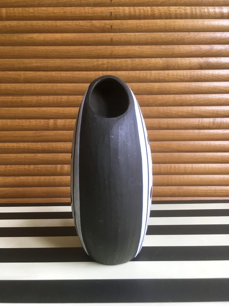 Mid-20th Century Danish Graphic Black/White Ceramic Vase by Marianne Starck, 1950s For Sale