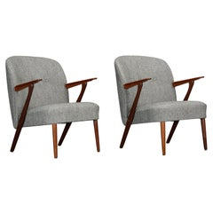 Danish Gray Armchairs by Kurt Olsen for Slagelse Møbelværk, 1950s, Set of 2
