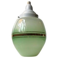 Danish Green Opaline Glass Funkis Pendant from Lyfa, 1940s