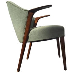 Danish Green Velvet Easy Chair by Kurt Olsen for Slagelse Møbelfabrik, 1952