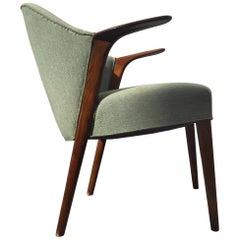 Danish Green Velvet Easy Chair by Kurt Olsen for Slagelse Møbelfabrik, 1952