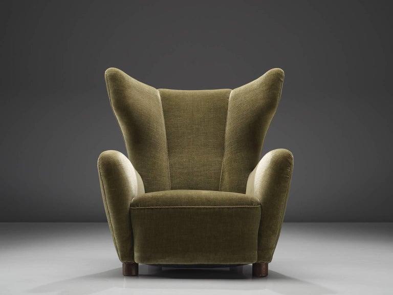 danish green velvet wingback chair for sale at 1stdibs. Black Bedroom Furniture Sets. Home Design Ideas