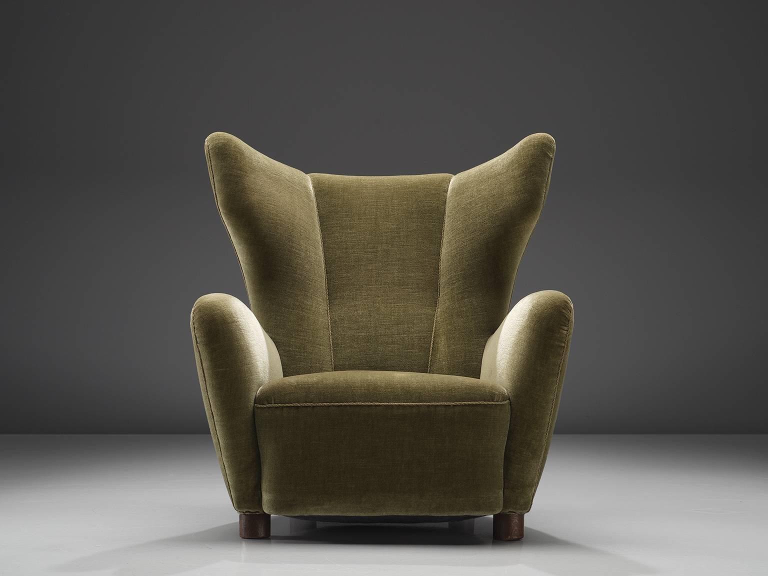 Danish Cabinetmaker, Wingback Chair, Mahogany, Green Velvet Fabric,  Denmark, Circa 1940