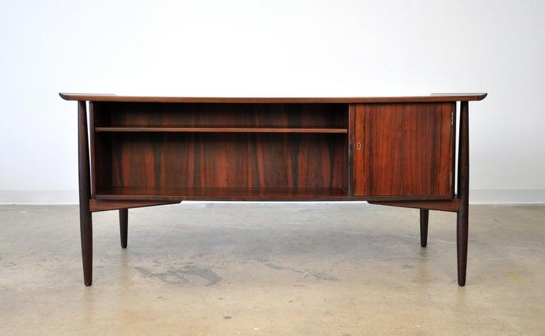 Maple Danish H. P. Hansen Rosewood Desk For Sale