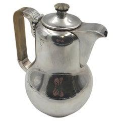 Danish Hammered Sterling Silver Coffee Pot in Jensen Art Deco Art Nouveau Style