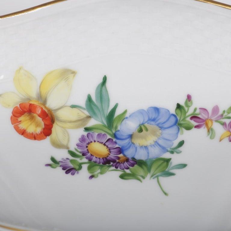 Danish Hand Painted and Gilt Floral Royal Copenhagen Porcelain Center Bowl For Sale 6