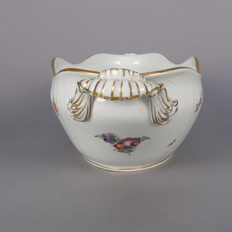 Danish Hand Painted and Gilt Floral Royal Copenhagen Porcelain Center Bowl In Good Condition For Sale In Big Flats, NY
