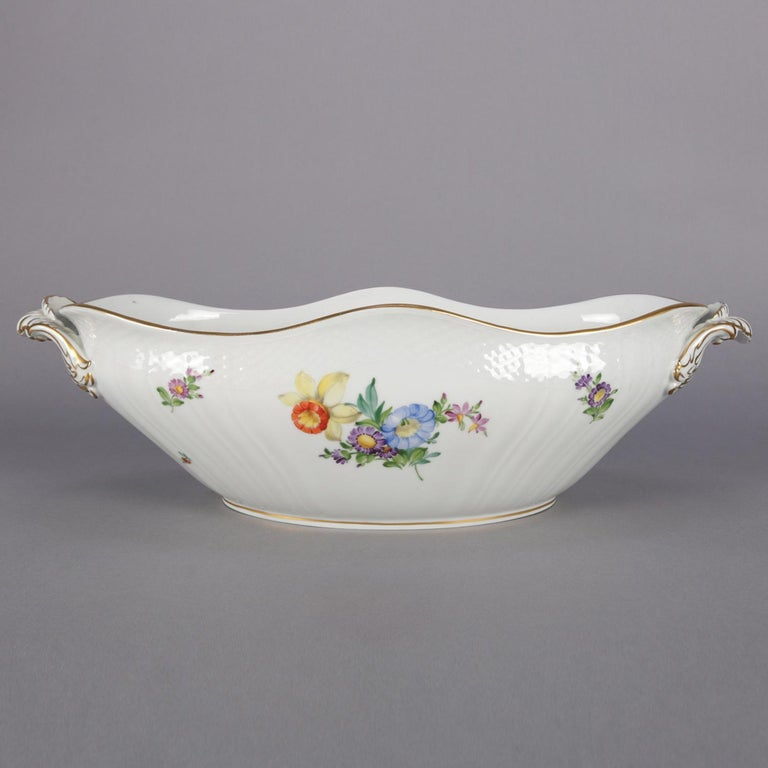 20th Century Danish Hand Painted and Gilt Floral Royal Copenhagen Porcelain Center Bowl For Sale