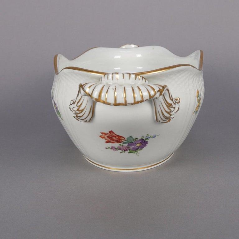 Danish Hand Painted and Gilt Floral Royal Copenhagen Porcelain Center Bowl For Sale 1