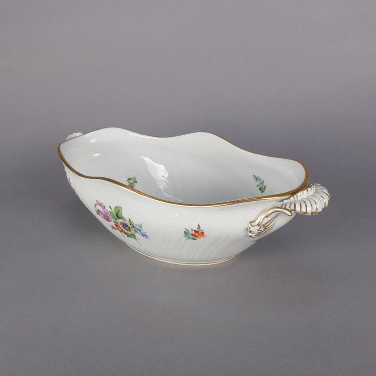 Danish Hand Painted and Gilt Floral Royal Copenhagen Porcelain Center Bowl For Sale 2