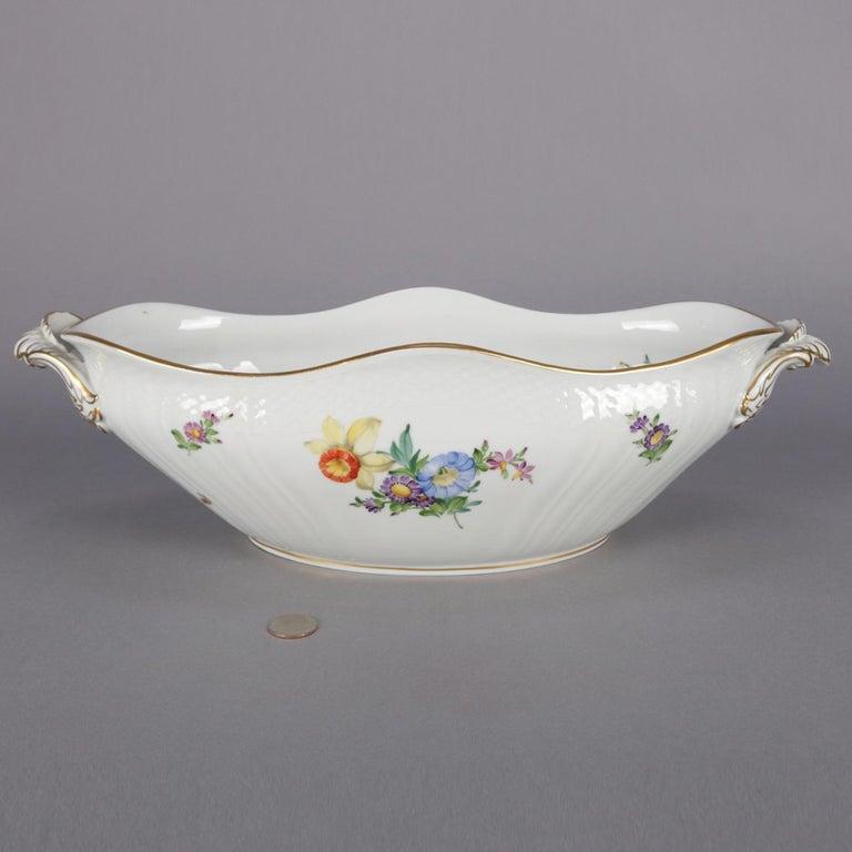 Danish Hand Painted and Gilt Floral Royal Copenhagen Porcelain Center Bowl For Sale 3