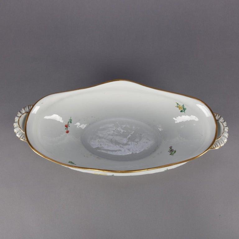 Danish Hand Painted and Gilt Floral Royal Copenhagen Porcelain Center Bowl For Sale 4