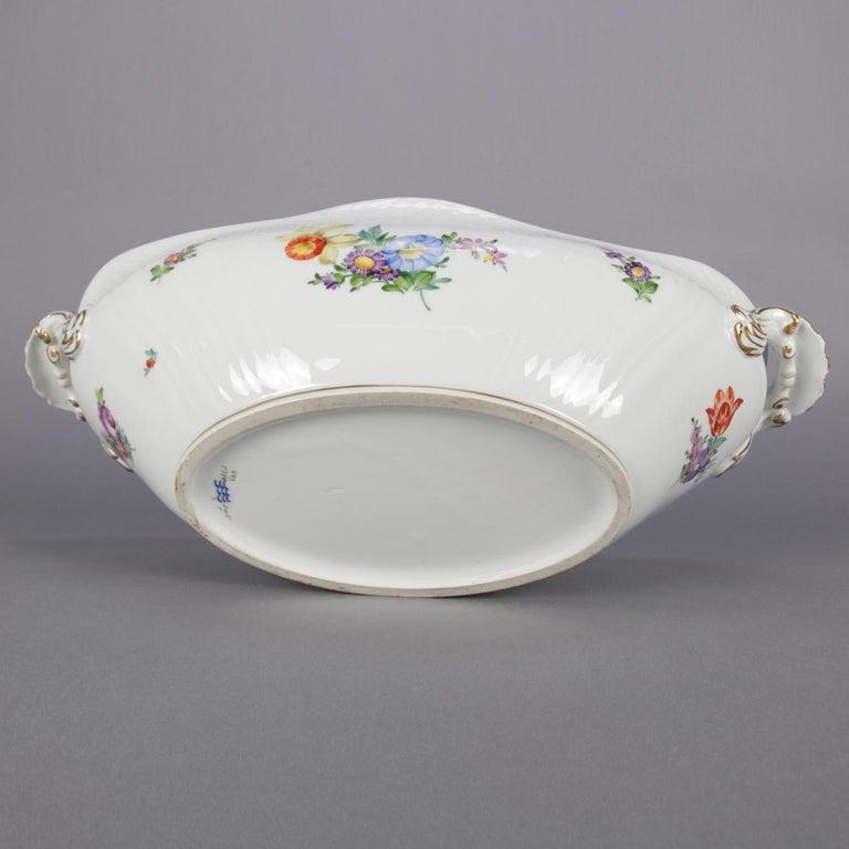 Danish Hand Painted and Gilt Floral Royal Copenhagen Porcelain Center Bowl For Sale 5