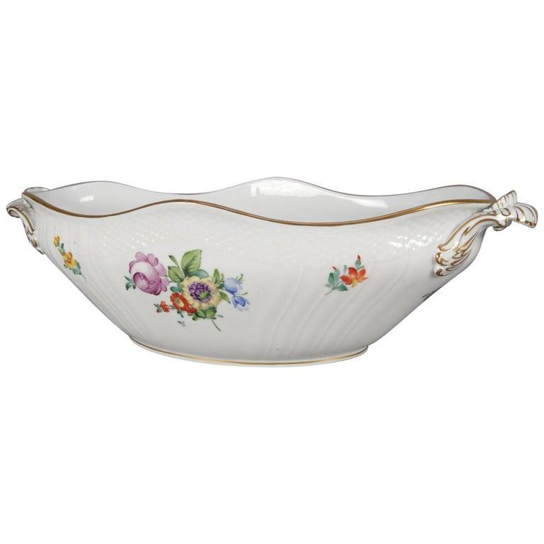 Danish Hand Painted and Gilt Floral Royal Copenhagen Porcelain Center Bowl For Sale