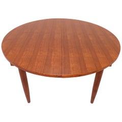 Danish Handmade Teak Large Round Dining Table with Leaf, circa 1960