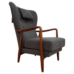 Danish High Back Armchair, 1960s, Wool, Beech, Completely Restored