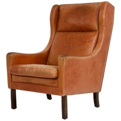 Danish High Back Leather Chair