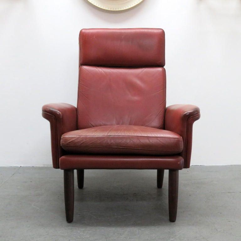 Mid-Century Modern Danish High Back Leather Lounge Chair, 1960 For Sale