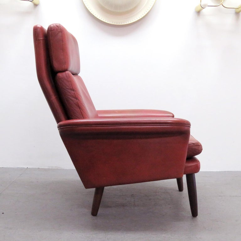 Mid-20th Century Danish High Back Leather Lounge Chair, 1960 For Sale
