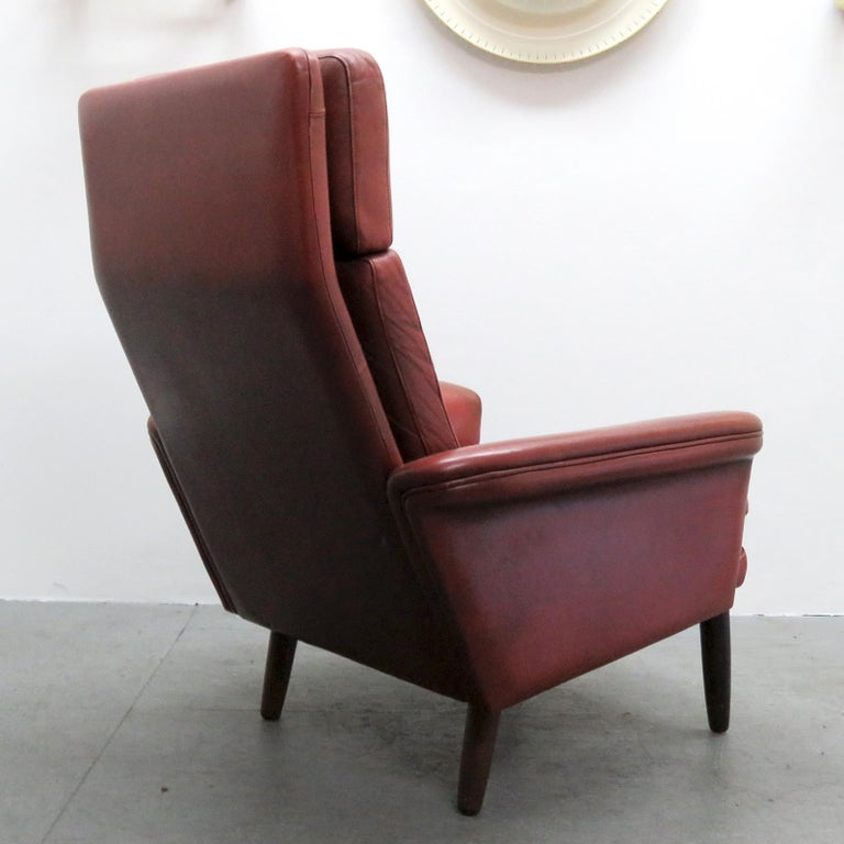 Danish High Back Leather Lounge Chair, 1960 For Sale 1