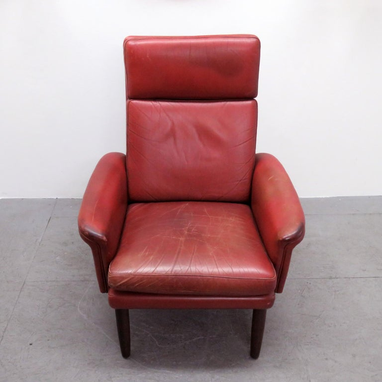 Danish High Back Leather Lounge Chair, 1960 For Sale 2