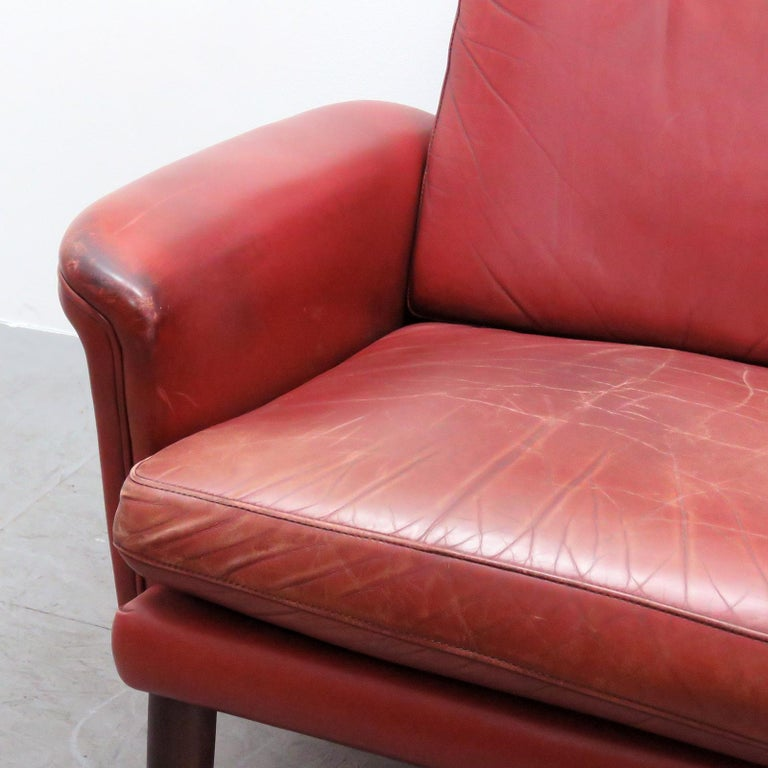 Danish High Back Leather Lounge Chair, 1960 For Sale 4