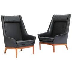 Danish High Back Lounge Chair by Erik Kolling Andersen for Peder Pedersen, Pair