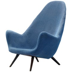 Danish High-Back Lounge Chair in Organic Shape and Blue Upholstery