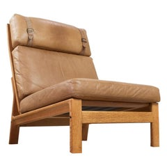 Danish High Back Lounge Chair Without Armrests in Tan Leather and Oak, 1960s