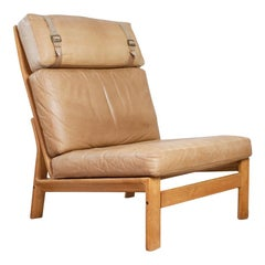 Danish High Back Tan Leather and Oak Lounge Chair with No Armrests, 1960s