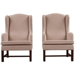 Scandinavian Modern Danish High Back Upholstered Cream Armchairs, 1960s