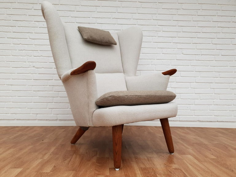 Danish High-Backed Armchair, Kvadrat Wool by Nana Ditzel, Completely Renovated 5