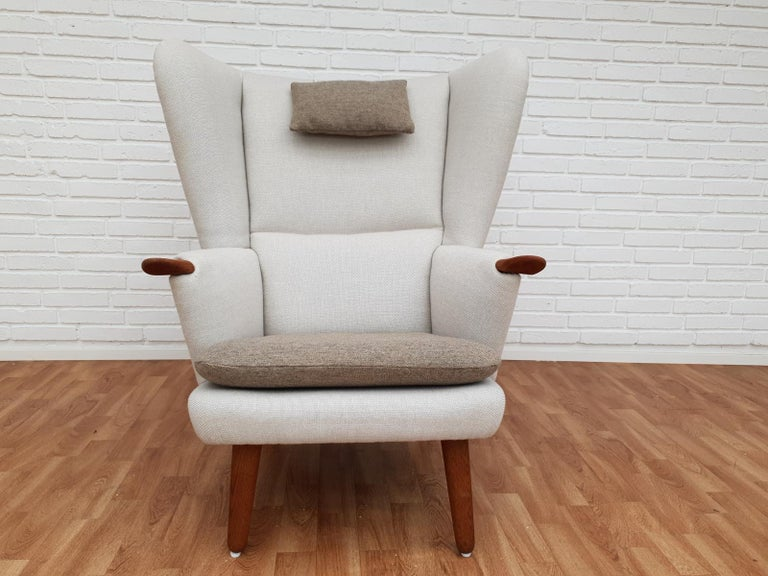 Danish High-Backed Armchair, Kvadrat Wool by Nana Ditzel, Completely Renovated 8