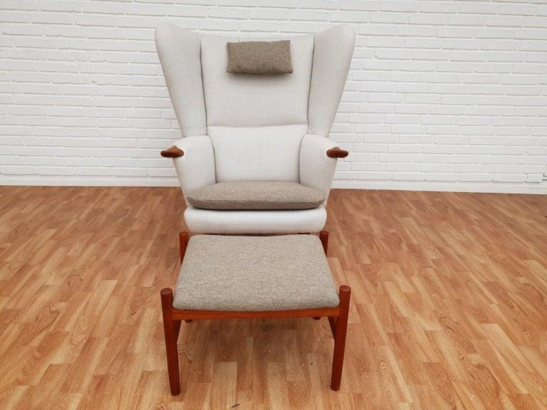 Danish High-Backed Armchair, Kvadrat Wool by Nana Ditzel, Completely Renovated 9