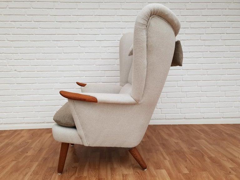 Danish High-Backed Armchair, Kvadrat Wool by Nana Ditzel, Completely Renovated 11