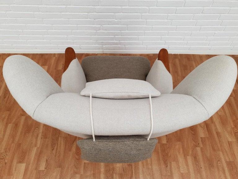 Danish High-Backed Armchair, Kvadrat Wool by Nana Ditzel, Completely Renovated 14