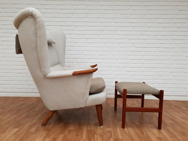 Danish High-Backed Armchair, Kvadrat Wool by Nana Ditzel, Completely Renovated 1